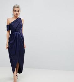 Атласное платье-футляр макси ASOS PETITE - Темно-синий