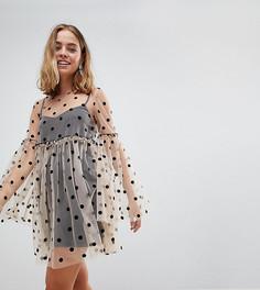 Полупрозрачное свободное платье в горошек ASOS PETITE - Мульти