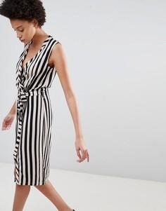 Платье в полоску с запахом и поясом Unique21 - Черный
