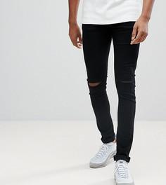 Черные джинсы с дырками на коленях ASOS TALL - Черный