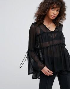 Шифоновая блузка с ярусными оборками Neon Rose - Черный