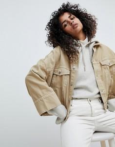 Короткая куртка с контрастными строчками Weekday - Бежевый