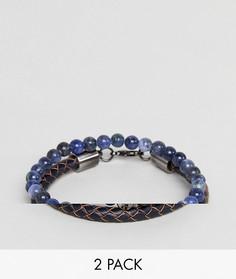 2 браслета (с бусинами/кожаный) Simon Carter Sodalite - Синий