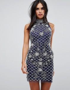 Декорированное платье-халтер мини A Star Is Born - Синий