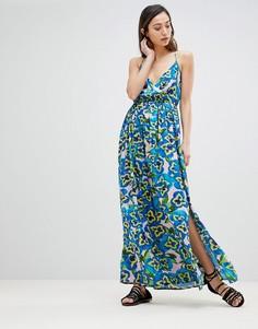 Пляжное платье макси с запахом и глубоким вырезом ASOS - Мульти
