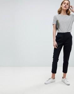 Льняные брюки-сигареты ASOS Tailored - Черный