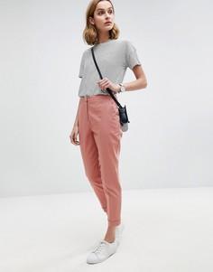 Льняные брюки-сигареты ASOS Tailored - Розовый