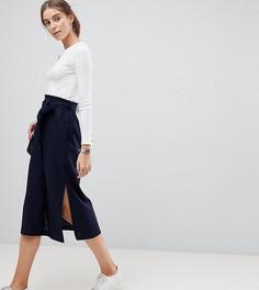 Льняная юбка-карандаш миди с присборенным поясом и разрезом ASOS TALL - Темно-синий