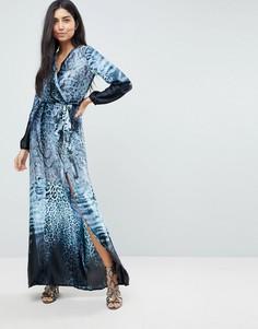 Платье макси с принтом тай-дай и разрезом до бедра Jessica Wright - Мульти