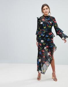 Платье миди с оборками и цветочным принтом Miss Selfridge - Мульти