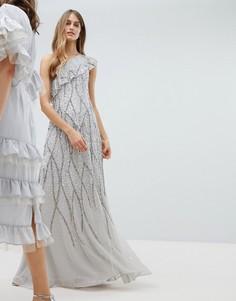 Декорированное платье макси на одно плечо с оборкой Amelia - Серый