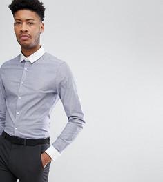 Зауженная рубашка в полоску с двойными манжетами ASOS TALL - Серый