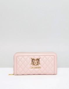 Стеганый кошелек на молнии Love Moschino - Розовый