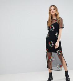 Платье-футболка с вышивкой ASOS TALL - Черный