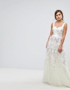 Платье макси из тюля с цветочной вышивкой Chi Chi London - Мульти