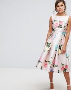 Атласное платье миди с принтом Chi Chi London - Мульти