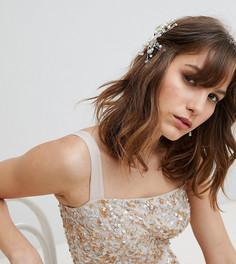 Заколка для волос с цветочной отделкой Amelia Rose - Серебряный