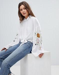 Блузка с вышивкой на рукавах Glamorous - Белый