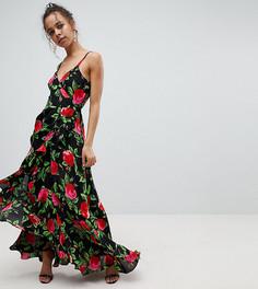 Платье макси с запахом, оборкой и цветочным принтом ASOS PETITE - Мульти