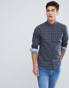 Темно-синяя рубашка с принтом Solid - Темно-синий