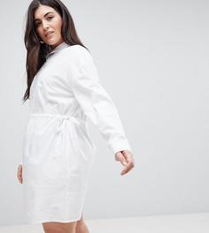 Хлопковое платье-рубашка с оборкой ASOS CURVE - Белый