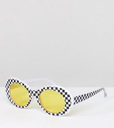 Белые солнцезащитные очки кошачий глаз с желтыми стеклами Reclaimed Vintage Inspired эксклюзивно для ASOS - Белый