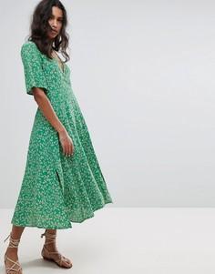 Платье миди с цветочным принтом Faithfull - Зеленый