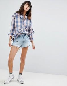 Состаренные джинсовые шорты с завышенной талией River Island Annie - Синий
