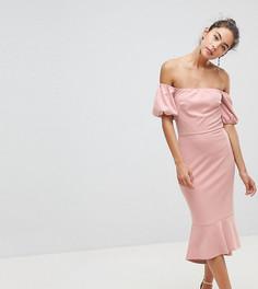 Платье с открытыми плечами и оборкой на подоле Silver Bloom - Розовый