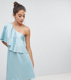 Приталенное платье на одно плечо с оборкой Silver Bloom - Зеленый