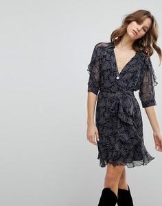 Платье с принтом и запахом BA&SH - Синий Ba&Sh