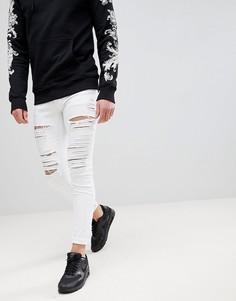 Белые обтягивающие джинсы с рваной отделкой Criminal Damage - Белый