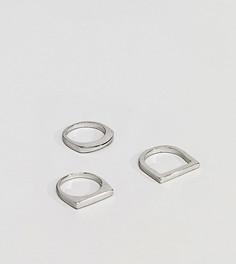 3 серебристых кольца с геометрической отделкой DesignB эксклюзивно для ASOS - Серебряный