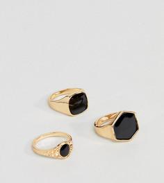 3 золотистых кольца с черным камнем DesignB эксклюзивно для ASOS - Золотой