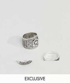 3 серебристых кольца с гравировкой DesignB эксклюзивно для ASOS - Серебряный
