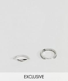2 серебристых витых кольца DesignB эксклюзивно для ASOS - Серебряный