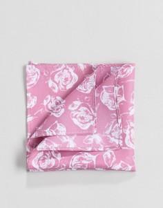 Розовый платок для пиджака с цветочным принтом ASOS - Розовый