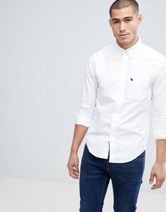 Белая облегающая оксфордская рубашка с воротником на пуговицах Abercrombie & Fitch - Белый