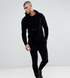 Супероблегающий спортивный костюм из велюра ASOS TALL - Черный