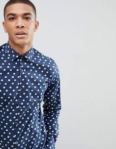 Строгая рубашка скинни с принтом Moss London - Темно-синий