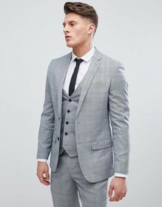 Серый клетчатый пиджак зауженного кроя River Island - Серый