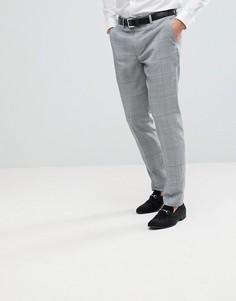 Серые клетчатые брюки зауженного кроя River Island - Серый