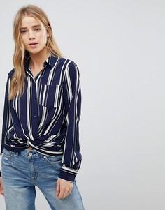 Рубашка в полоску с перекрученной отделкой New Look - Синий