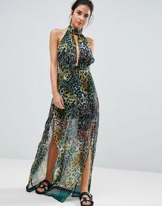 Пляжное платье макси с леопардовым принтом PrettyLittleThing - Зеленый