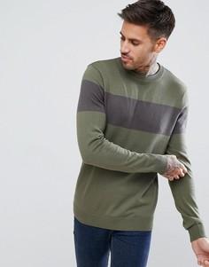 Джемпер цвета хаки с серыми вставками New Look - Зеленый
