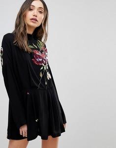 Платье-туника с цветочной вышивкой Free People Gemma - Черный