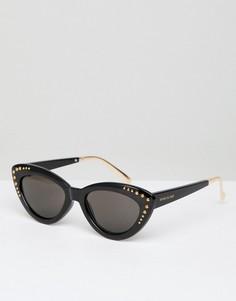 Солнцезащитные очки кошачий глаз с заклепками River Island - Черный