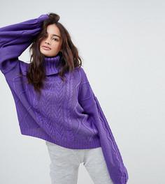 Вязаный oversize-джемпер с узором в косичку и пышными рукавами Rokoko - Фиолетовый