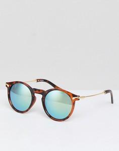 Круглые солнцезащитные очки с металлическими дужками и зеркальными стеклами ASOS - Коричневый
