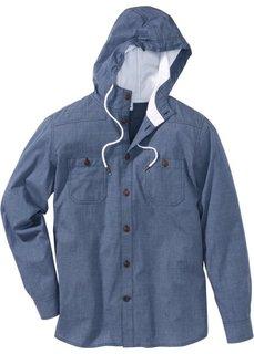 Рубашка Regular Fit с длинным рукавом и капюшоном (индиго в клетку) Bonprix